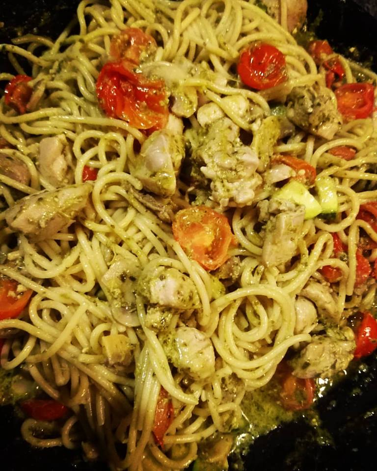 Chicken and Vegetable Pesto Pasta