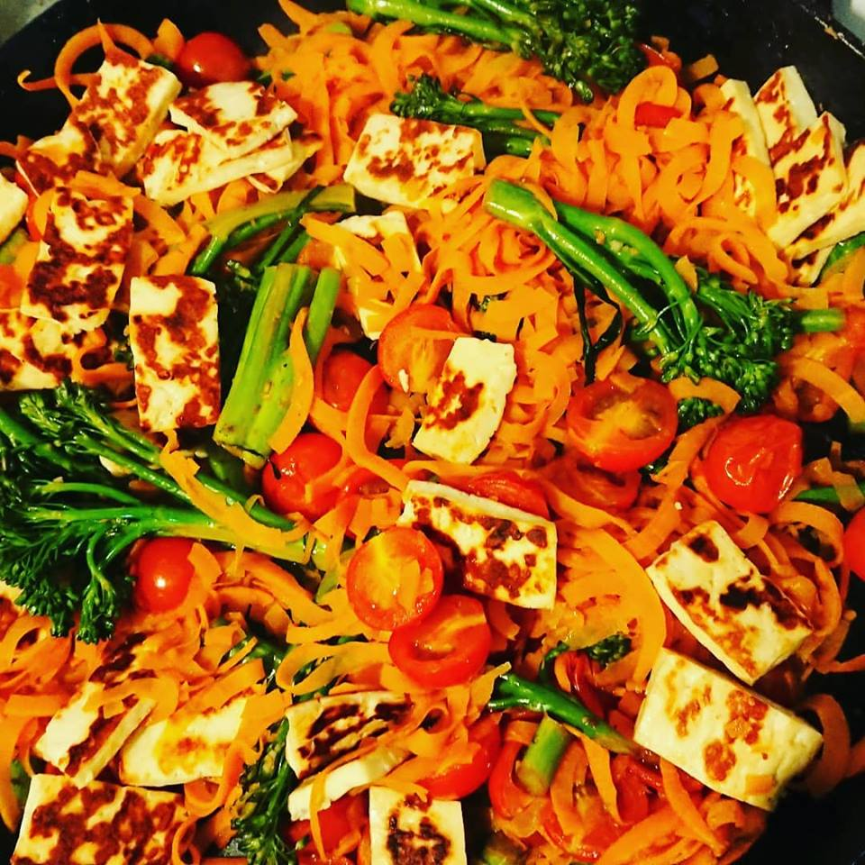 Haloumi and Sweet Potato Noodle Salad