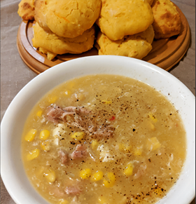 Sweet Chilli Chicken and Corn Soup with Pumpkin Scones