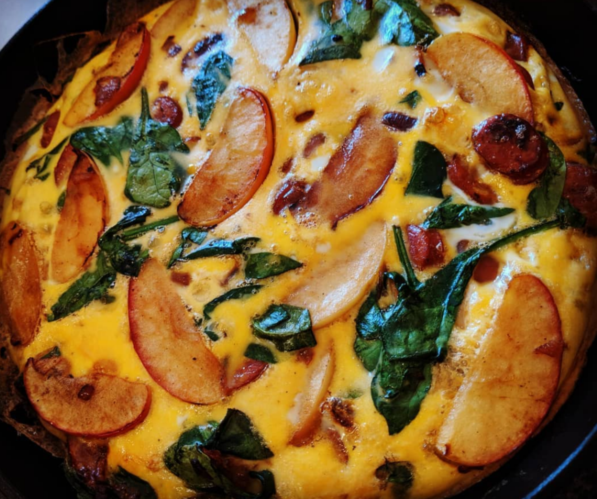 Apple, Spinach and Chorizo Frittata